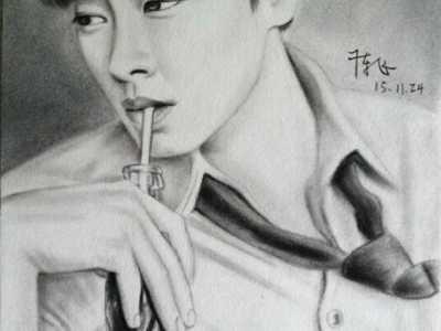 杨洋的动画萌图铅笔画 男明星手绘素描图